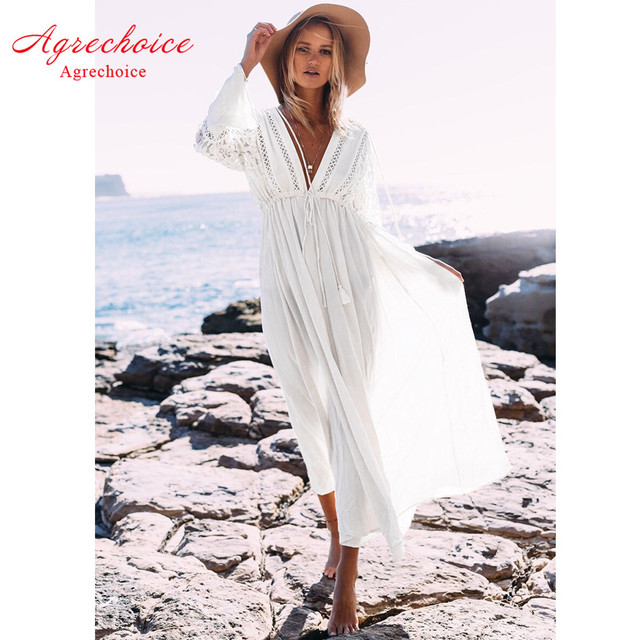 ca64128484cc3 New Sexy Hollow Out Beach Cover Up Women Bikini Swimwear Cover Up Lace Beach  Dress Long Tunics Bathing Suits Cover-Ups Beachwear
