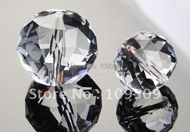 Free Shipping,40pcs/lot 40mm  K9 Chandelier Crystal clear Faceted Ball Prism with center hole  for String Pendants