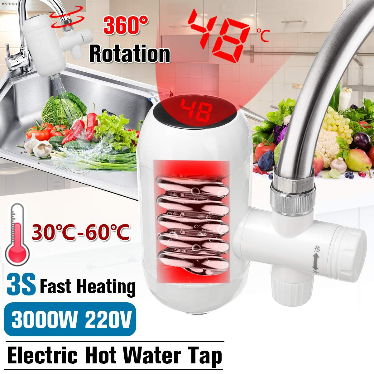 3000W Temperature Display Instant Hot Water Tap Electric Faucet Kitchen 3S Instant Water Heater Water Heating 360° Rotatable