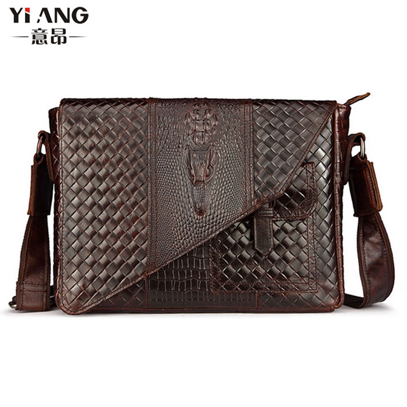 New Men's fashion Wax oil Genuine leather First layer  Cowhide Crocodile pattern Business Briefcase Messenger Shoulder Bag chic flower shape embellished cat eye sunglasses for women