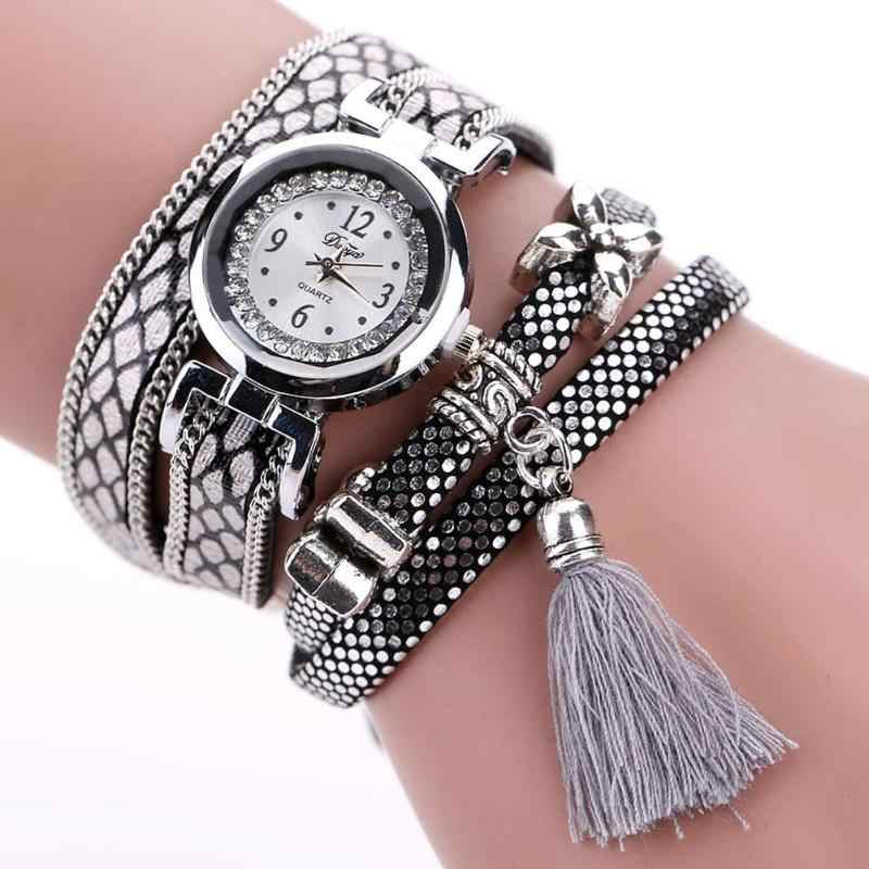 Duoya שעון נשים צמיד גבירותיי שעון עם Rhinestones שעון נשים בציר נשים עור רצועת ציצית צמיד שעונים