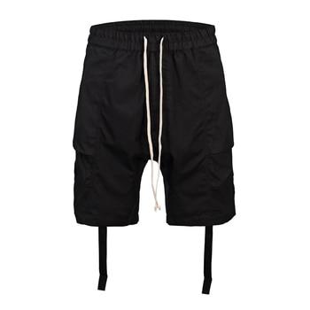 High Street 2019 Summer fashion high street men sweat short casual cool black wear hip hop Drawstring design Clothes