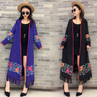 Elegant Cardigans Linen cloak coat women floral embroidery kimono autumn spring long female overcoat long sleeve trench coat
