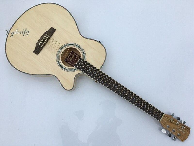 Mince corps acoustique-électrique guitare débutant guitare avec chaîne de cas