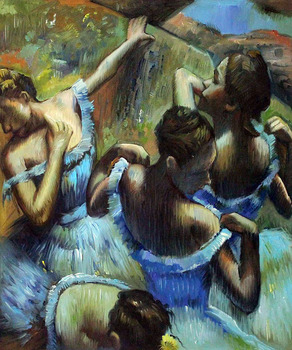 Hand-painted Impressionist Ballet Girls Painting Home Decoration Blue Dancers by Edgar Degas Figure Oil Painting Canvas Arts