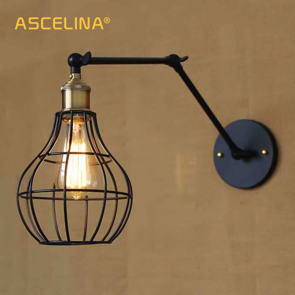 Wall Lamps Loft Style American Industrial Creative Iron Vintage Wall Light With Two Swing Mechanical Arm Balcony Wall Light Free Shipping At All Costs