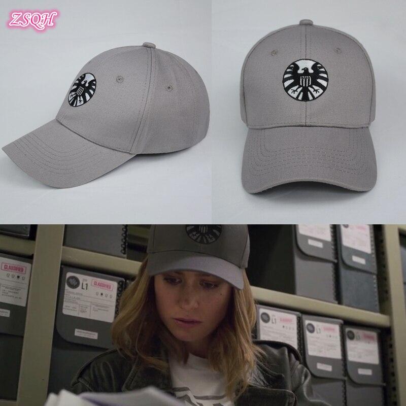 New Fashion Captain Marvel Caps Adjustable Hip Hop Sun Hat Shield Baseball Cap