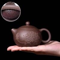 New Kung Fu Teapot Handmade Ceramic Art Top Ball Hole Filter Teapot Zisha Pot 200 300ml Handmade Tea Set Kageshi Shih