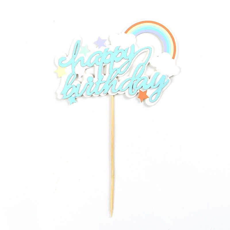 אוויר חם בלון קשת עוגת Toppers יום הולדת שמח עוגת למעלה דגלי גליטר עוגת טופר קישוטי יום הולדת אספקת חתונה