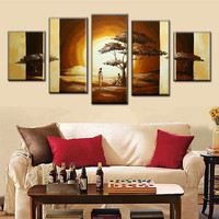 5 Panel Wall Canvas Painting Handpainted Abstract Africa Landscape Oil Paintings Home Decor Wall Art African Women Tree Pictures