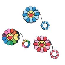 Durable Fashion Cute Colorful Flowers Soft Silicone Protective Cover Shockproof Case Skin With Lanyard for Airpods 1/2 Charging