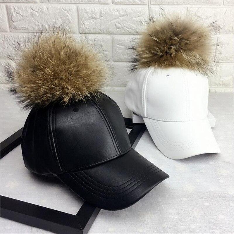 Pom pom snapback women's   baseball     cap   imitation leather snapback   caps   hats bone hats flat snapback   baseball     cap   gorras dad hat