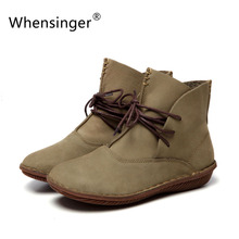 Whensinger – 2016 Women Shoes Spring Female Genuine Leather Boots Handmade Vintage Literary Style Ankle Lace-Up Fashion 506-L