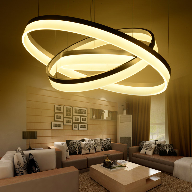 Modern LED living dining room pendant lights suspension luminaire suspendu led ring lighting lamp fixture de techo colgante a1 master bedroom living room lamp crystal pendant lights dining room lamp european style dual use fashion pendant lamps