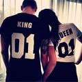 New 2016 Fashion Brand Short Sleeve T Shirts Men Shirts King Queen 01 Funny Letter Printing O-Neck T Shirts S M L XL XXL