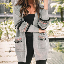 Women Long Sleeve Knitted Cardigan Elegant Floral Sweater Casual Autumn Coats Outwear Fashion Winter Harajuku Veste Femme