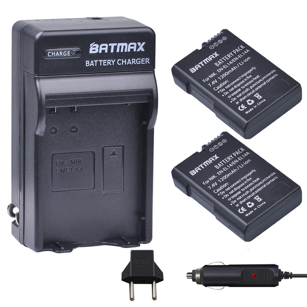 2 Pcs EN-EL14 EN EL14 ENEL14 Batterie + Chargeur De Voiture Plug pour Nikon D3100 D3200 D3400 D5100 D5200 D5300 D5600 DF P7000 P7100 P7800