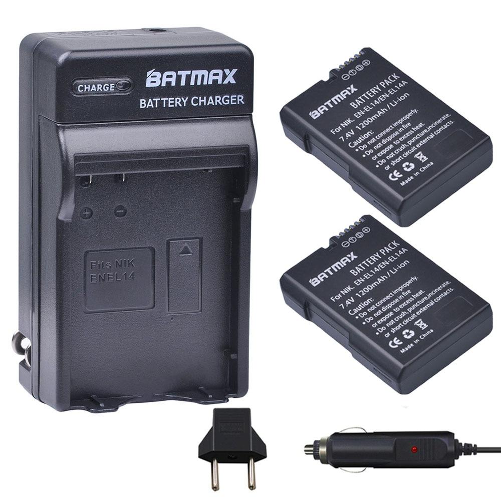 2Pcs EN-EL14 EN EL14 ENEL14 Battery + Car Charger Plug for Nikon D3100 D3200 D3400 D5100 D5200 D5300 D5600 DF P7000 P7100 P7800