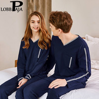 LOBBPAJA Young Lovers Pajamas Sets Women Long Sleeves Autumn Pyjama V Neck Men Couple Pijama Set Sleepwear Lounge Home Clothes