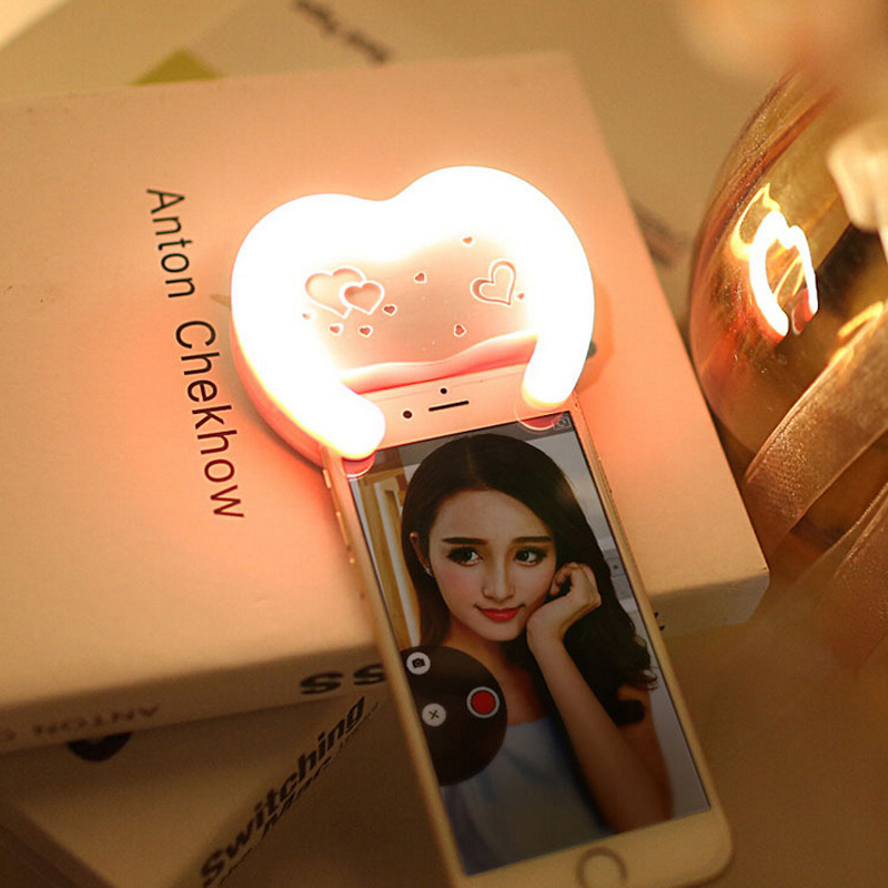 Selfie Portable <font><b>LED</b></font> Ring Flash Light Camera Fill Light Photography Spotlight Flash For <font><b>iPhone</b></font> Mobile Phone Adjustable Brightness