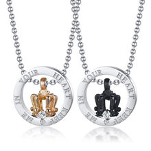 Modyle His and Her Crown Charm Necklaces for Women Man Customized Keep Me In Your Heart Promise Love Gifts(China)