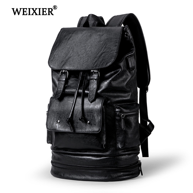 WEIXIER 2019 New Preppy Style Men Backpack High capacity Backpack Fashion PU Leather Casual Travel SchoolBag PU leather Back Bag-in Backpacks from Luggage & Bags on AliExpress - 11.11_Double 11_Singles' Day 1
