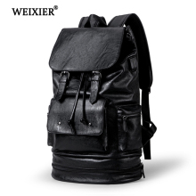 WEIXIER 2019 New Preppy Style Men Backpack High capacity Fashion PU Leather Casual Travel SchoolBag leather Back Bag