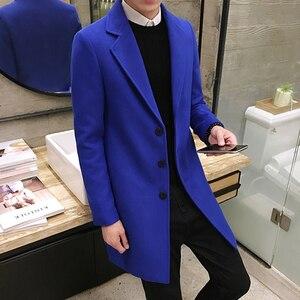 Image 2 - Yüksek kaliteli erkek uzun düz renk rüzgarlık, sonbahar ve kış moda İnce sıcak ceket, büyük boy 5XL erkek yün ceket