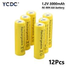4/8/12 pièces batterie Rechargeable jaune de marque supérieure AA 3000 mAh pré/séjour Charge Ni-MH piles rechargeables LR6 HR6 KAA