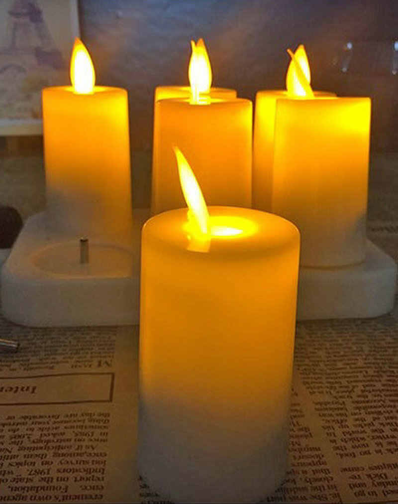 set of 6 Rechargeable Swinging Moving Wick TeaLight Flickering Ivory Flameless LED Candle Home Xmas Wedding party Decor-Amber