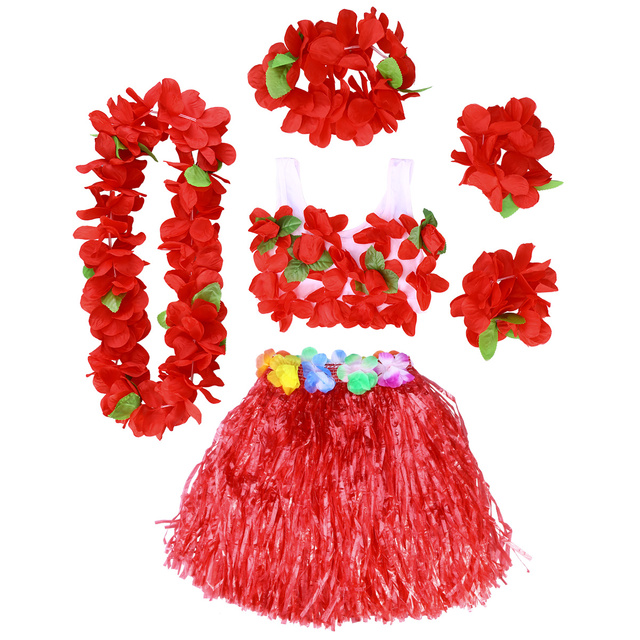 c50e0aeeb985 6Pcs Hawaii Tropical Hula Grass Dance Skirt Kids Flower Leis Bracelets  Headband Necklace Bra Set 40cm (Red Skirt)