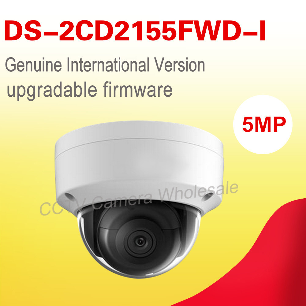 orginal English version DS-2CD2155FWD-I 5MP WDR Fixed Dome Network cctv Camera POE, IP67,IR 30M, IK10,H.265+ no audio free shipping in stock new arrival english version ds 2cd2142fwd iws 4mp wdr fixed dome with wifi network camera