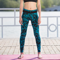 Hot Fashion Patchwork Sporting Pants Print Super Elastic Fitness  2016 Summer Women Feather And Leopard Leggings