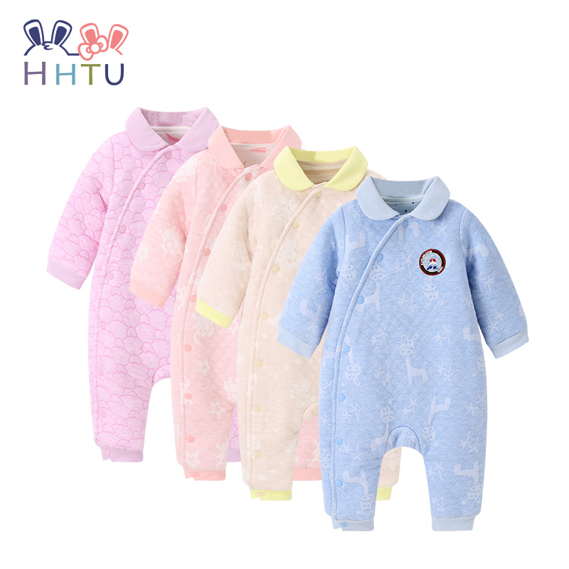 HHTU 2017 Baby Newborn Boys Girls Keep Warm Quilted Cotton Rompers Thickening Infants Jumpsuits Autumn Winter Boneless Sewing hhtu brand baby rompers boys girls clothing quilted long sleeve jumpsuits newborn clothes boneless sewing children cotton winter