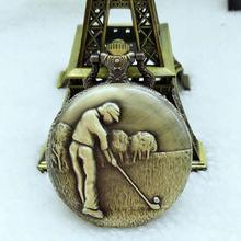 8ad5fe86572 Antique steampunk Vintage Copper Elegant Design Quartz Chain Golf Pocket  Watch Gift PM36(China)