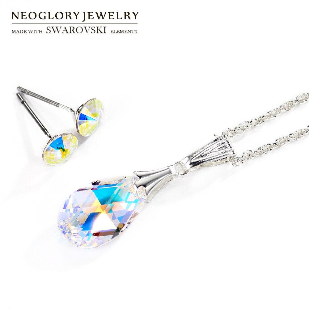 Neoglory cristal conjunto de jóias na moda gota de água inoxidável pós colar & brincos senhora embelezado com cristais de swarovski