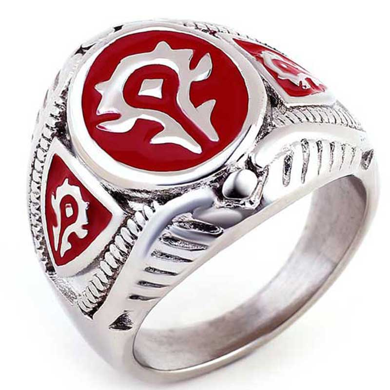 Red Black Color Fashion Jewelry World of Warcraft 316L Stainless Steel Hot WOW Ring