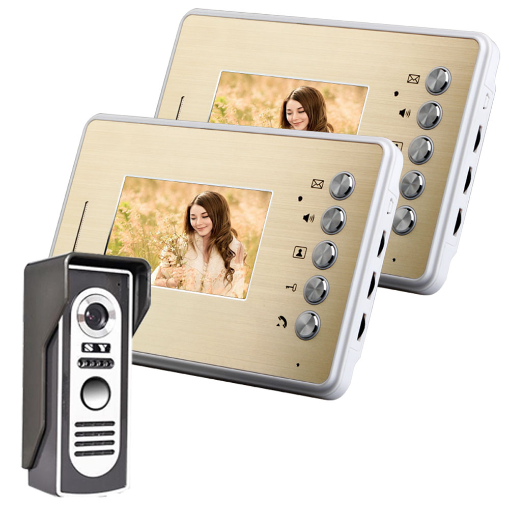 Une caméra extérieure + deux moniteurs d'intérieur visiophone 4.3 pouces couleur 25 types de sonneries de porte interphone mains libres