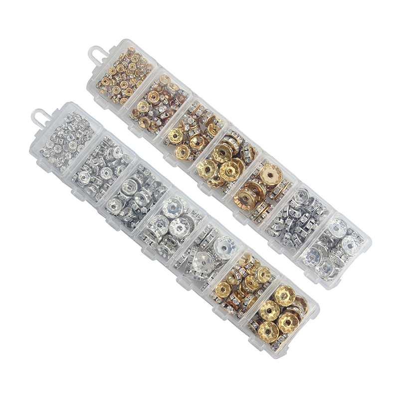 1Box ​​/ lot Mix 6 8 10 12 mm Dia Ari / Argjend i praruar Rondelle Spacer Beads Rhinestone Beads Crystal Loose Jewel Making F3747