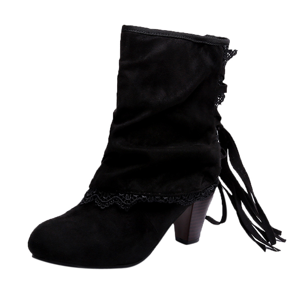 Ankle Boots For  Women Fashion Women Casual Sexy High Heels Lace Patchwork Buckled Boots Shoes Booties #PopAnkle Boots For  Women Fashion Women Casual Sexy High Heels Lace Patchwork Buckled Boots Shoes Booties #Pop