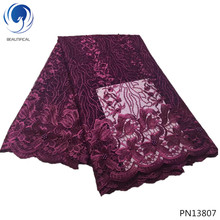 BEAUTIFICAL bridal lace fabric embroidered tulle with lots beads high quality flower style PN138