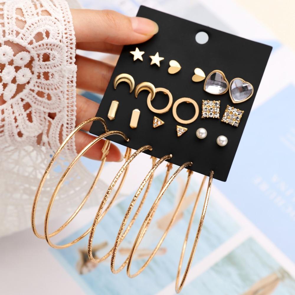Hesiod New Earrings Sets Small Big Circle Earrings for Women Heart Moon Bow Crystal Pearl Earring Sets Wedding
