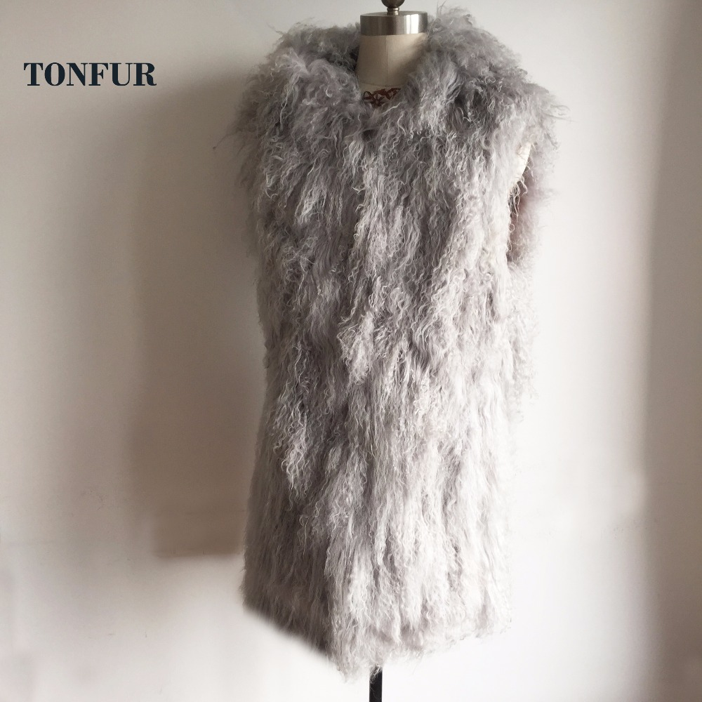 Women Thick Warm Long Hair Natural Mongolia Sheep Fur Vest Casual Sleeveless Gilet with Fur Hood