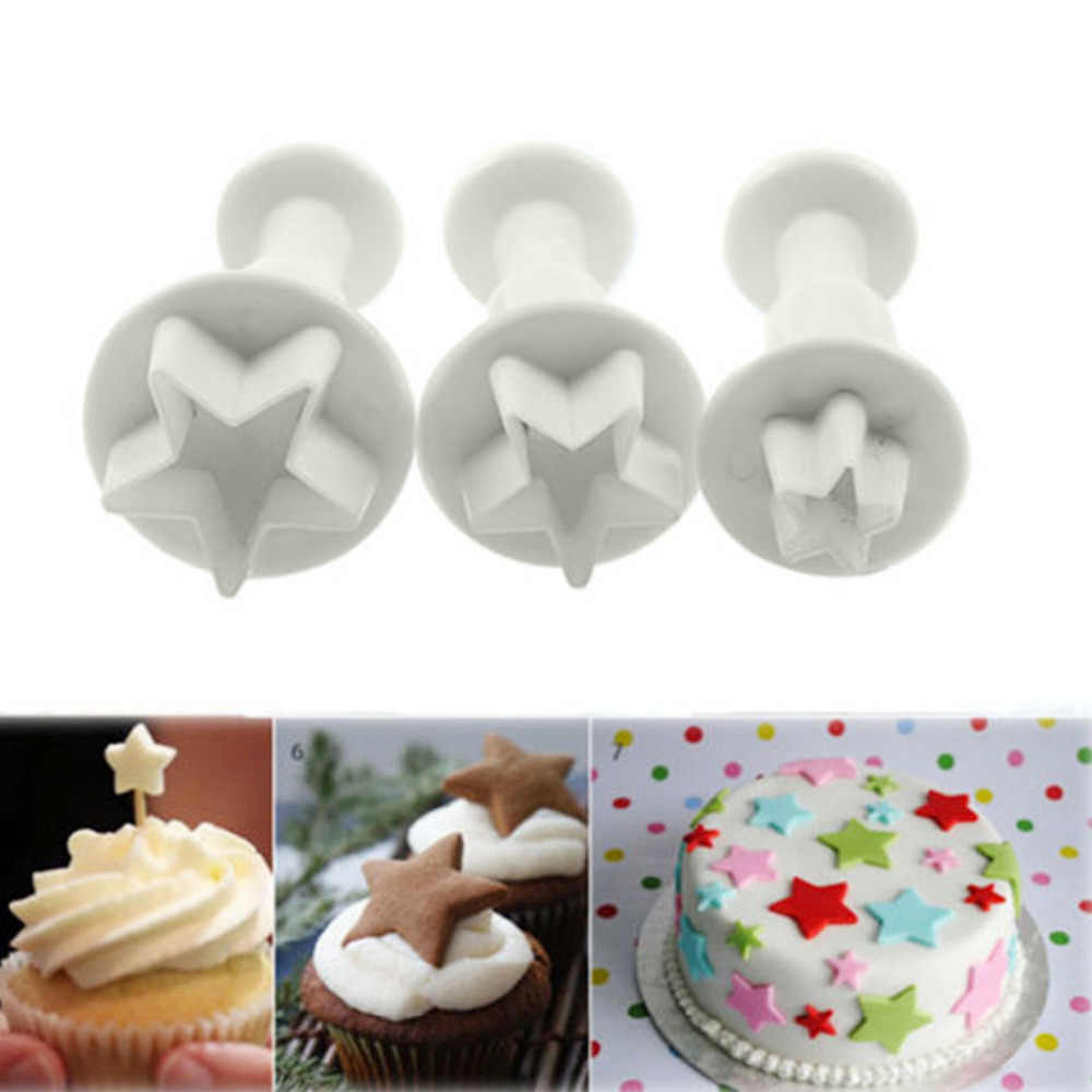 1Set/3PCS Baking Cookie Mold Fondant Tool Star Heart Snow Flower Butterfly Square Cutter Mold For Cake Decorating Tool