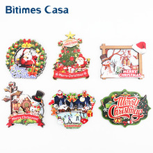 Bitimes Christmas Decoration Set For Home Decor 6PCS/Set 3D Fridge Magnets Santa Snowman Refrigerator Gifts