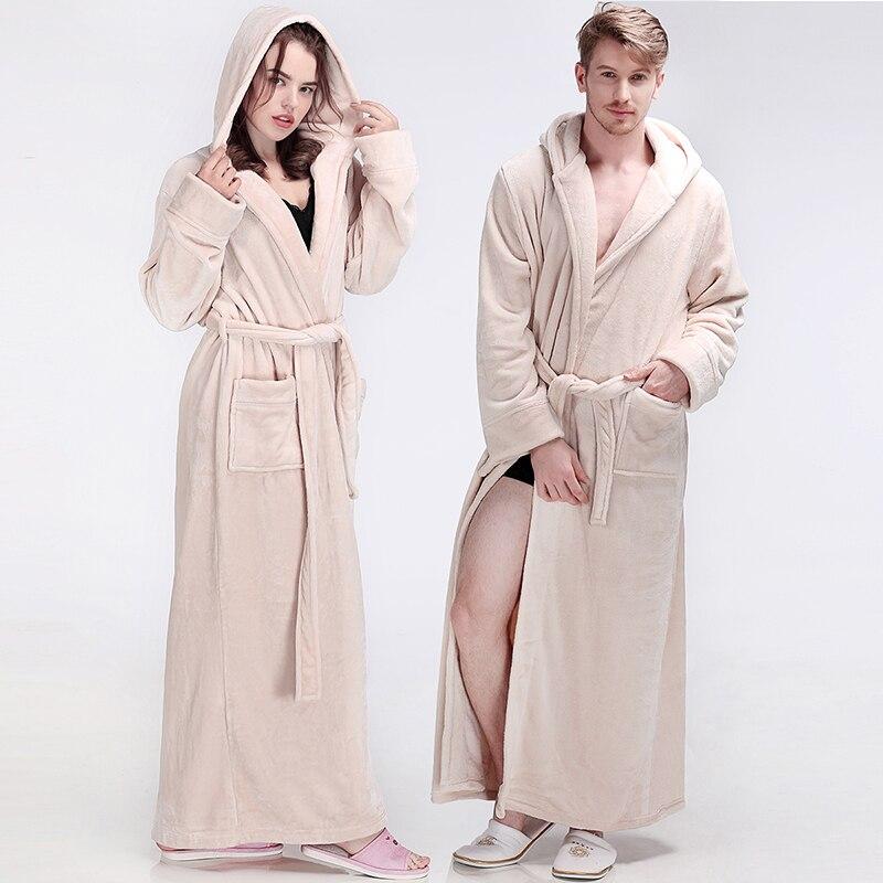 Femmes hommes hiver à capuche Extra Long chaud peignoir de luxe épais flanelle Robe de bain grande taille doux thermique Robe de chambre Sexy Robes - 3