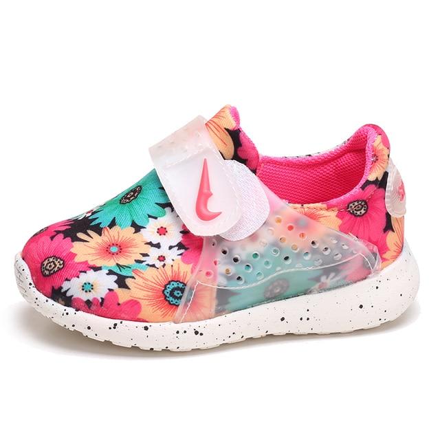 7e547e34960 Voorjaar 2016 nieuwe baby schoenen kinderen sportschoenen meisjes Bloemen  tij leisure sneakers Kids Lycra stretch stof