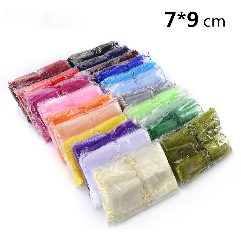 Big Wholesale 800pcs/lot Organza Bag 7x9cm,Wedding Jewelry Packaging Pouches,Nice Gift Bags,Mix Colors недорого