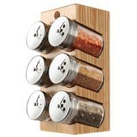 Creative glass wood combination kitchen cruet Six bottle minimalist kitchens pepper shakers Salt shaker Storage jar