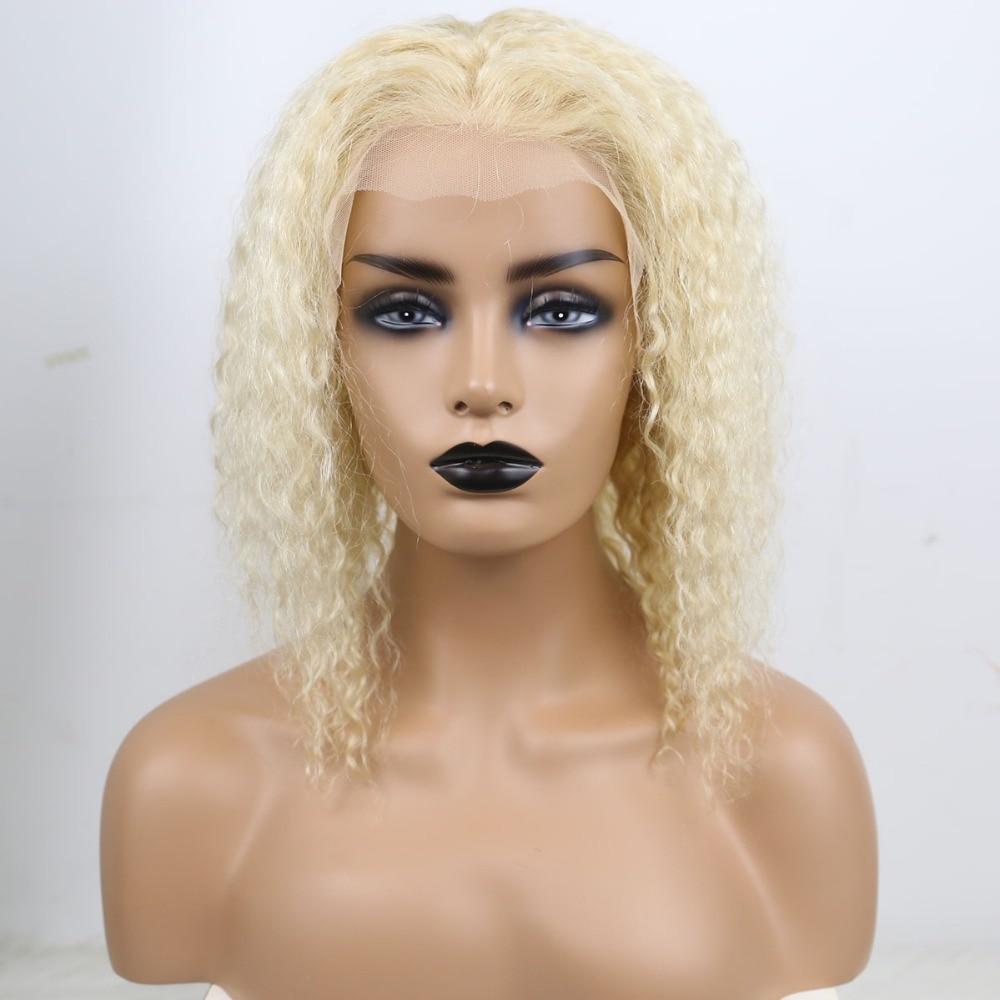 Perruque bouclée Blonde 613 humains 180% densité